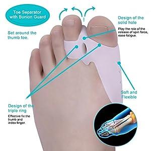 5Pcs Bunion Corrector Adjustable Bunion Splint Night Time Soft Gel for Bunion Relief, Bunion Corrector and Bunion Relief Protector Brace Kit for Big Toes, Bunion Pads, Toe Straightener, Toe Separators