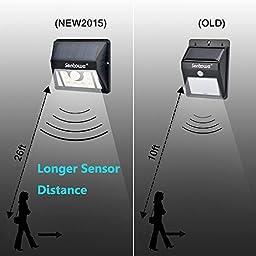 "Senboweâ""¢ [Newest 3 Intelligient Modes] Super Bright Outdoor Solar Wall Light, Sensor Motion Light,Solar Security Lighting, for Patio, Garden,Deck, Yard, Home, Driveway-Weatherproof (2 Pack)"
