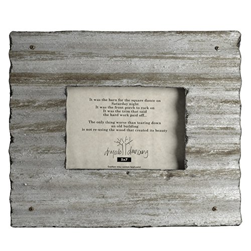 Photo Tin - Dryads Dancing Reclaimed Corrugated Roof Tin Frame, 5 x 7, Silver