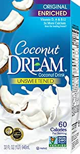 COCONUT DREAM Enriched Original Unsweetened Coconut Drink, 32 Fluid Ounce (Pack of 12)