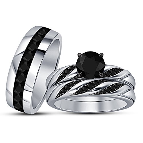 TVS-JEWELS Women's Ring Set For Special Occasion Wedding Black CZ 925 Silver Platinum Plated by TVS-JEWELS