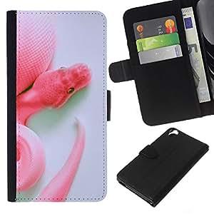 Serpiente Blanca Cabeza Cola Arte Primer plano- la tarjeta de Crédito Slots PU Funda de cuero Monedero caso cubierta de piel Para HTC Desire 820