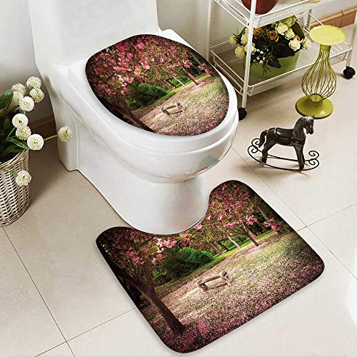 aolankaili U-Shaped Toilet Mat Tranquil Garden Bench Surrounded by Cherry Blossom Trees 2 Pieces Microfiber Soft