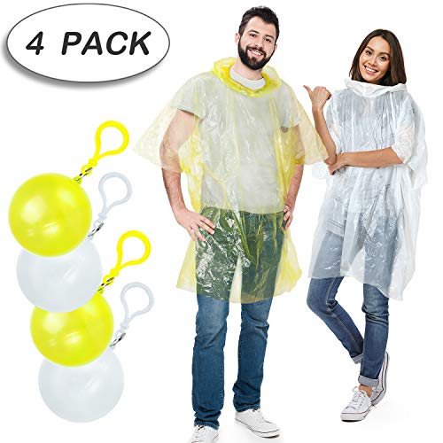 Rain Poncho,Disposable Emergency Raincoats Outdoor colorful Set of 4 Pieces Portable Hook Poncho Ball (All code)