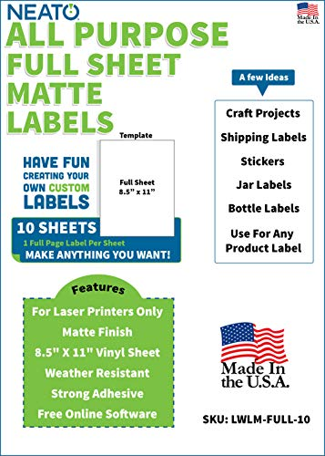 Neato Blank White Full Sheet Printable Labels - for Laser Printers - Matte Finish - Weather Resistant Vinyl Sticker Paper - Online Design Label Studio Included (10 Sheets) (Vinyl Laser Printer Labels)
