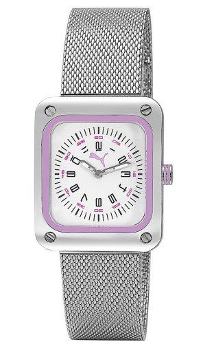 Puma Time Women's Quartz Watch Frame Metal Silver Purple PU102562002 with Metal Strap