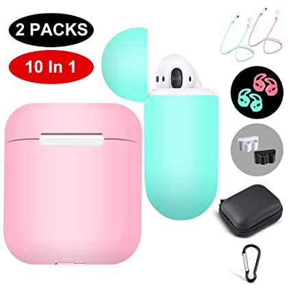 3171cafc849 Amazon.com: 2 Packs Apple Airpod Case Cover Airpods Skin(Pink and ...