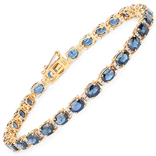 12.97 Carat Genuine Blue Sapphire and White Diamond 14K Yellow Gold (14k Blue Sapphire Bracelet)