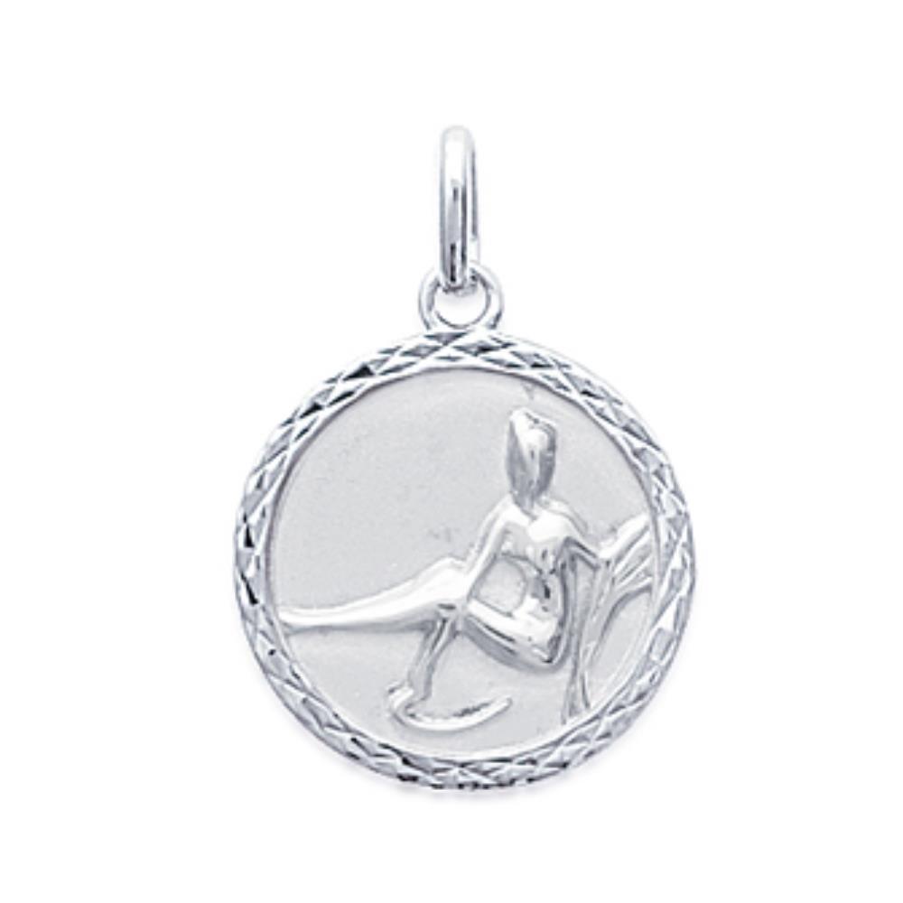 Isady – Sternzeichen Jungfrau Rund Silber – Anhänger zum Gravieren – Gravur Kostenlos – 925er Sterling Silber
