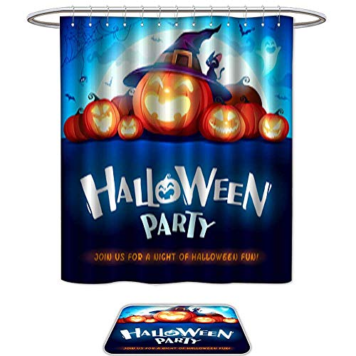 QianHe Set of 2,Shower CurtainHalloween Party Jack O Lantern Party Halloween Pumpkin Patch in The Moonlight 2. Waterproof Fabric Bathroom,12pcs Metal Hook -