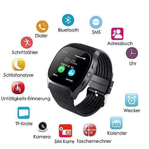 T8 Bluetooth Reloj Inteligente, Pantalla Táctil Inteligente Reloj de Pulsera con Cámara SIM TF Tarjeta para Samsung,Nexus,HTC,Sony yotros Smartphones ...