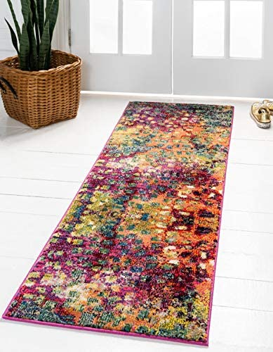 Unique Loom Jardin Collection Colorful Abstract Multi Runner Rug 2 7 x 10 0