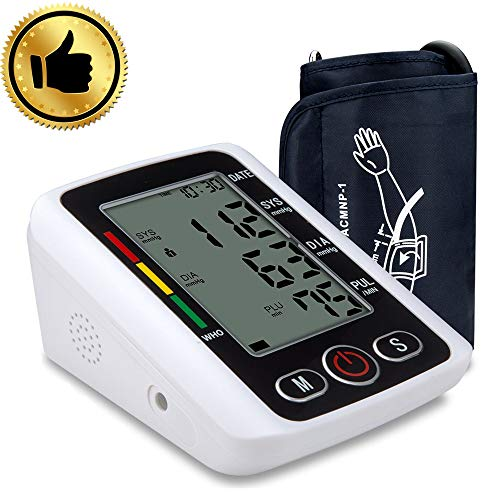 Blood Pressure Monitor, Automatic Digital BP Machine Large Display Upper Arm Cuff Blood Pressure Pulse Rate Clinically Accurate BP Monitor for Home Use, 2 * 99 Memory Mode, CE FDA Approved