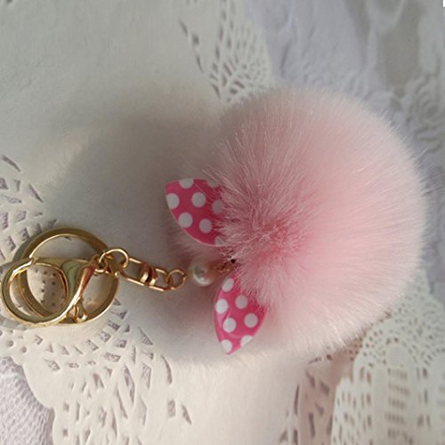 Gotd Faux Fur Ball Keychain Bag Plush Car Key Ring Car Key Pendant (Pink)