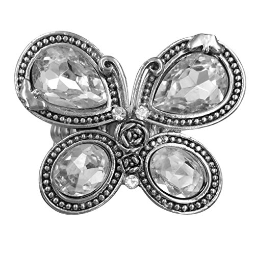 Large Animal Rhinestone Statement Big Stretch Cocktail Ring (Silver Tone Butterfly)