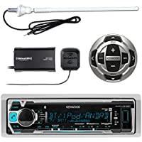 Kenwood MP3/USB/AUX Marine Boat Yacht Stereo Receiver - Bundle Combo With KCARC35MR Wired Remote Control + SiriusXM Radio Tuner + Enrock Outdoor Rubber Mast 45 Antenna