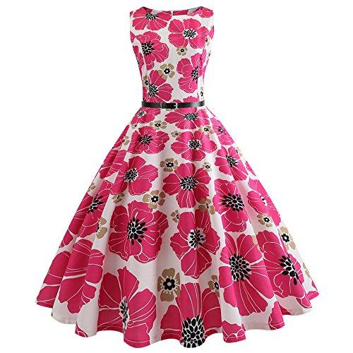 Women Dresses Lady Vintage Print Bodycon Sleeveless Evening Party Swing Dress Belt Hot Pink ()