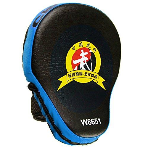 Cheerwing PU Leather MMA Boxing Mitt Punching Mitt Target Focus Punch Pad Training Glove For Karate Muay Thai Kick(Blue) (Hand Target)