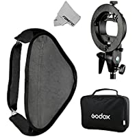 Fomito Godox Pro Floading Adjustable 80cm x 80cm Flash Soft Box Kit with S-Type Bracket Bowen Mount Holder for Camera Studio Photography