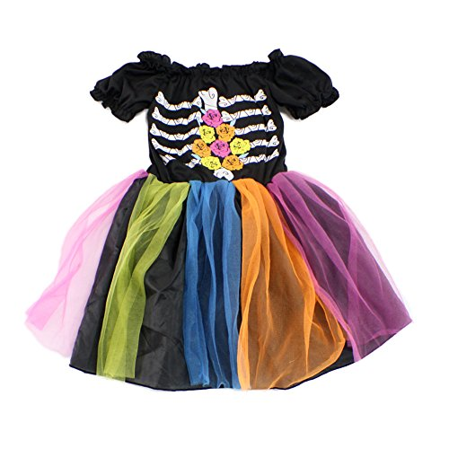 Halloween Cosplay Costume for Girls Tutu Dress with Skeleton Pattern (4-6years, StyleD)