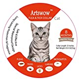 "Artswow Flea and Tick Prevention for Cat Collar - Waterproof and Hypoallergenic Flea Control Tick Collar for Cats - 13"" Adjustable Collar 8Month Protection One Size Fits All"