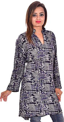 Indian-100-Cotton-Women-Top-Kurta-Tunic-Kurti-plus-size-Floral-Print-Ethnic-Blue-Color