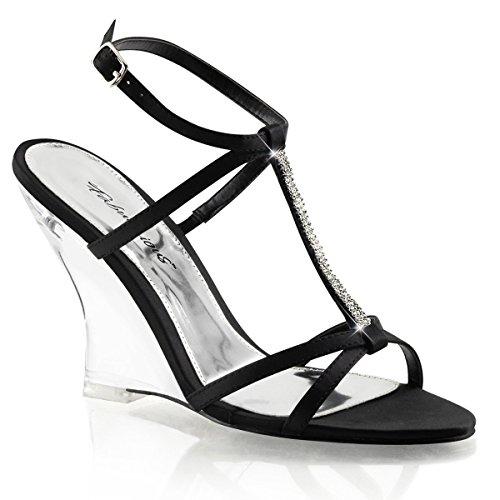 Fabulicious Mooie-428 Dames Sandalen Zwart Satijn / Transparant