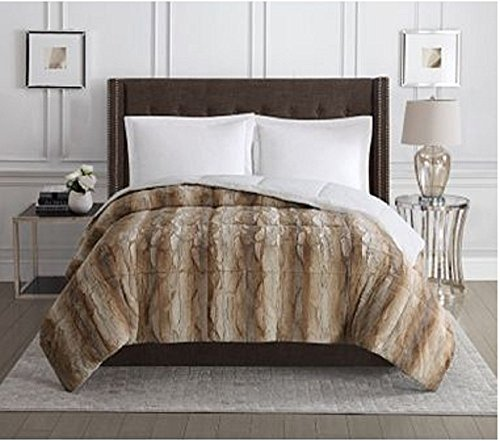 Christian Siriano Reversible Faux Fur Comforter - Queen - White/Brown by Christian Siriano