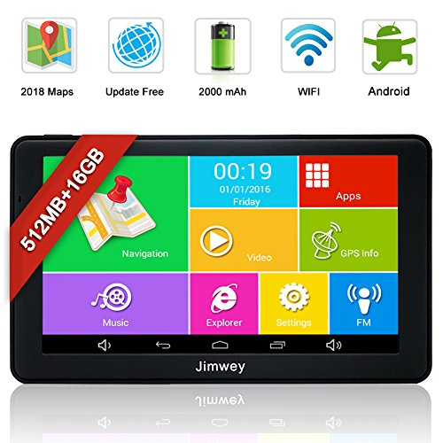 SAT NAV GPS Navigation System, Jimwey 7 Inch Bluetooth Android 16GB 512MB...