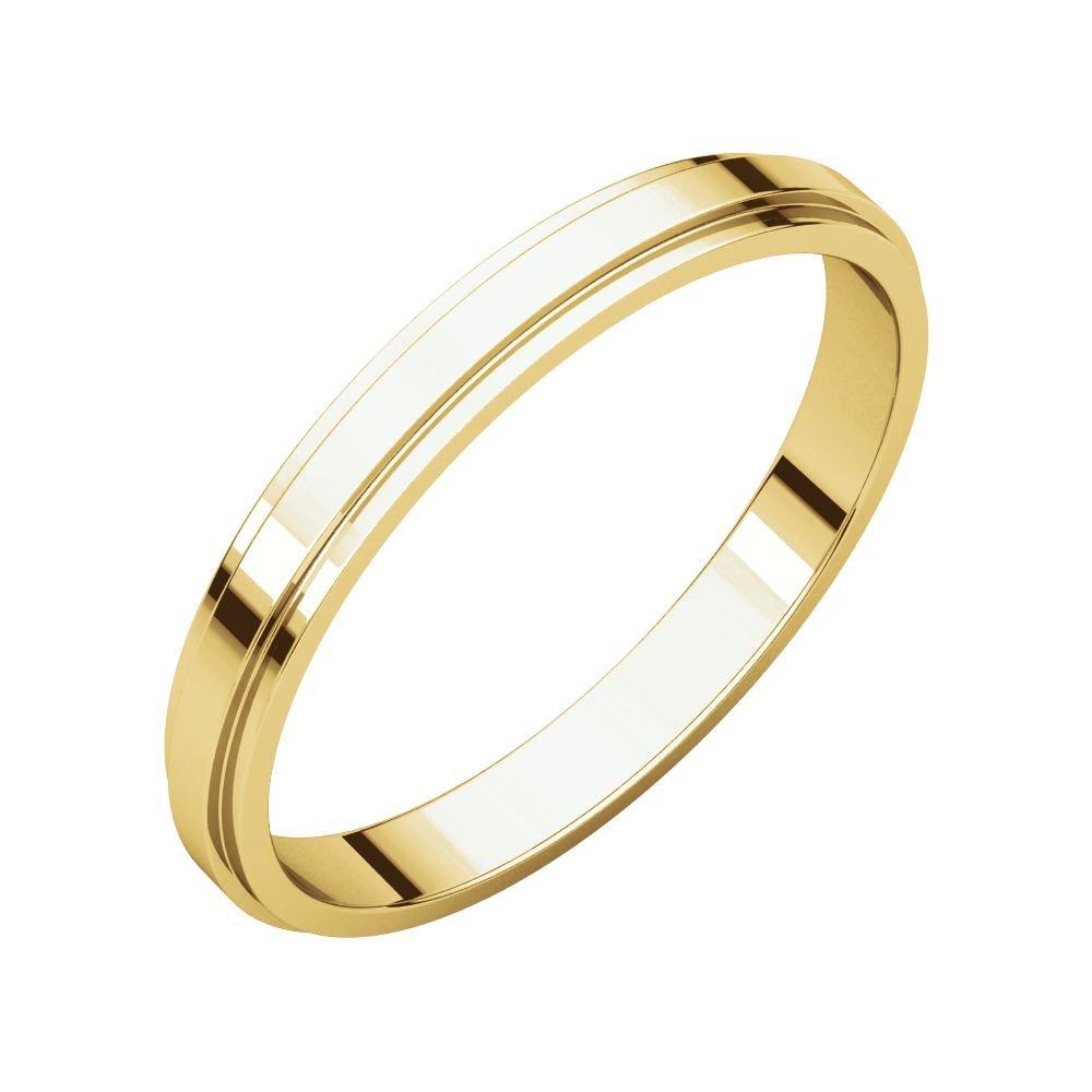 Size 12 Bonyak Jewelry 18k Yellow Gold 2.5 mm Flat Edge Band