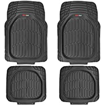 Motor Trend MT-921-BK FlexTough Tortoise-Heavy Duty Rubber Floor Mats for All Weather Protection-Deep Dish, Black