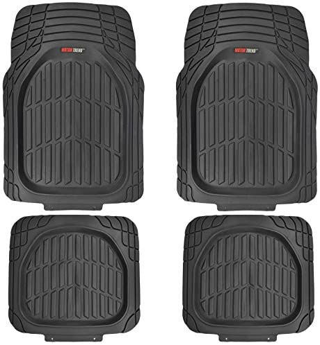 Motor Trend FlexTough Tortoise – Heavy Duty Rubber Floor Mats for All Weather Protection – Deep Dish (Black)