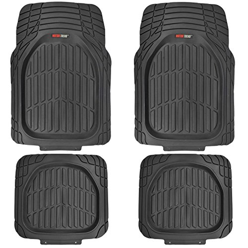 Heavy Duty Truck Mats - Motor Trend MT-921-BK FlexTough Tortoise - Heavy Duty Rubber Floor Mats for Car SUV Van & Truck - All Weather Protection - Deep Dish (Black)