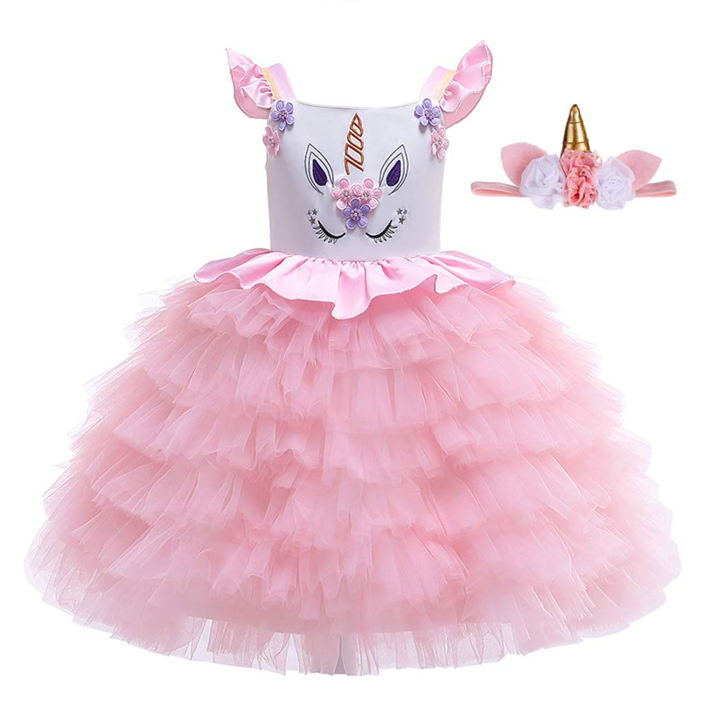 Pretty Princess Girls Unicorn Party Dress Birthday Dressing Up Outfit Unicorn Halloween Costume for Baby Girls 6 Months to 4 Years