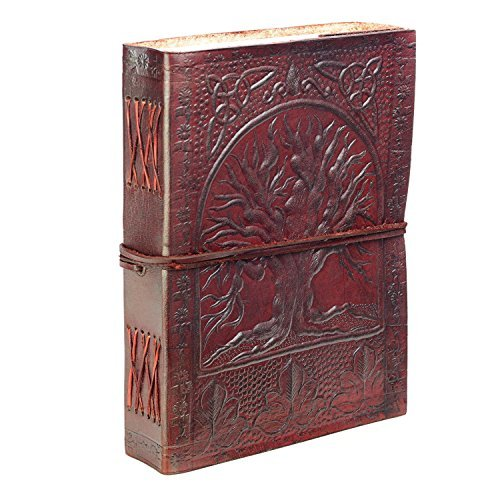 Fair Trade Leather - SKH55 Fair Trade Handmade Eco Tree Of Life Design Embossed Leather Journal Notebook