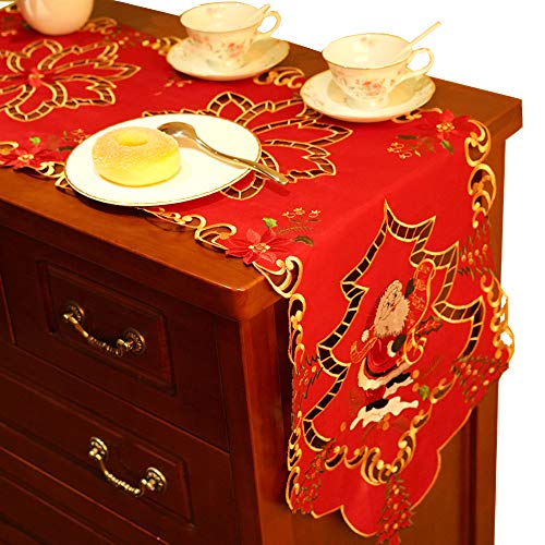 2pcs Christmas Table Runners, Premium Embroidered Santa Table Lines Xmas Table Runner Dresser Scarf for Seasonal Holiday Parties Home Dining Room Decorations