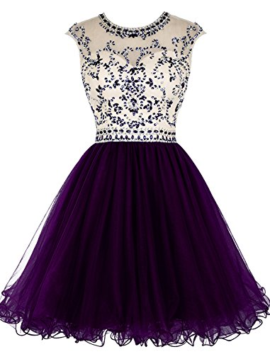 Beaded Cocktail Gown - Tideclothes ALAGIRLS Beaded Homecoming Dress Short Tulle Prom Cocktail Gowns Hollow Back Grape US20Plus