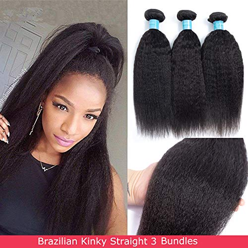 Norfila Brazilian Kinkys Straight 3 Bundles(14 16 18) Human Hair 8a Unprocessed Virgin Hair Yaki Straight Bundles Extensions Natural Color