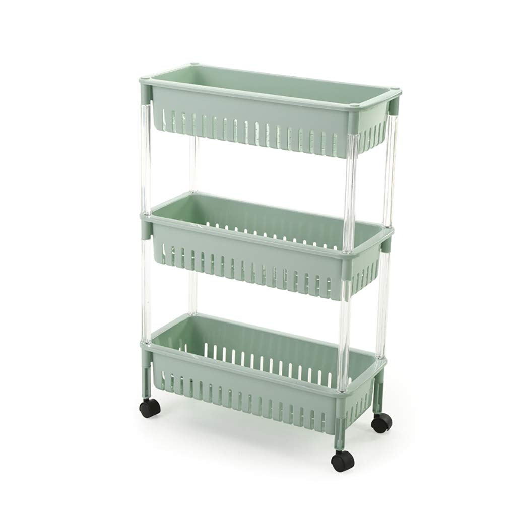 CFstc 3/4 Tier Removable Slim Slide Out Pantry Storage Rack for Narrow Spaces Laundry Bathroom Kitchen Green (Size : 46.5 * 21.5 * 68.5CM)