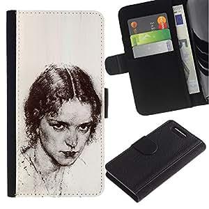 APlus Cases // Sony Xperia Z1 Compact D5503 // Retrato Bella Chica Lápiz Carbón // Cuero PU Delgado caso Billetera cubierta Shell Armor Funda Case Cover Wallet Credit Card