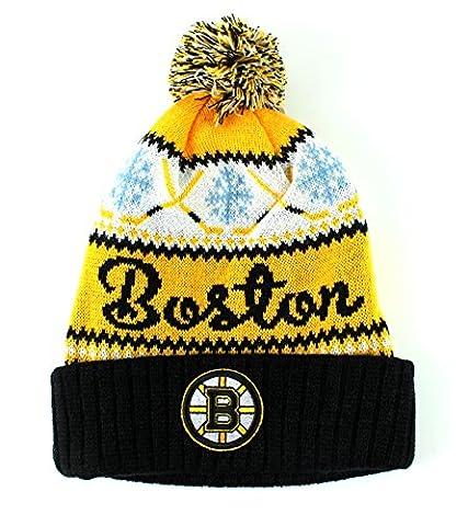 Boston Bruins NHL American Needle Peak Knit Cuffed Pom Beanie Hat (Flick Hat)