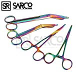 SARCO PREMIUM GERMAN STAINLESS LISTER BANDAGE SCISSORS 7.25'' + 5.5'' HEMOSTAT FORCEPS STRAIGHT + CURVED 5.5'' MULTI COLOR RAINBOW COLOR STAINLESS STEEL -A+QUALITY GUARANTEED ( SET OF 4 )