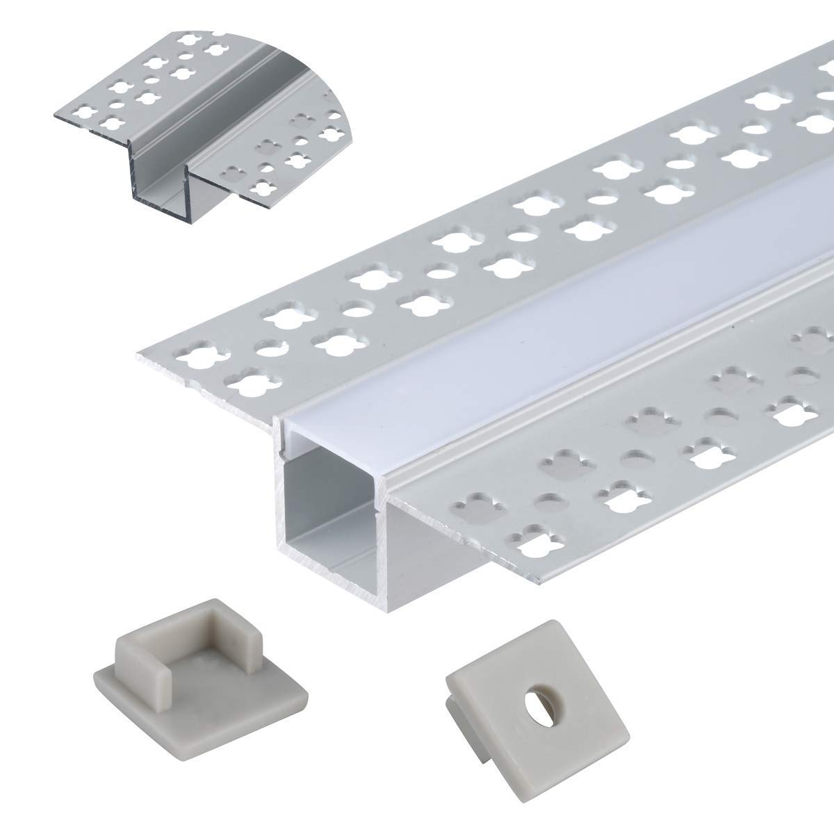 StarlandLed 5-Pack 6.6FT/2 Meter Plaster-in Recessed Slim LED Aluminum Channel with Flange for LED Strip, Aluminium LED Profile with Clip-in Diffuser and End Caps by StarlandLed (Image #2)
