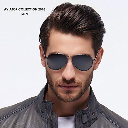 de de increíble Protección 2018 color Aviator UV400 Aviador con Gris Hombre y estilo Redondo sol mejor Elegear Gafas Marco Gafas polarizadas 100 Manganeso claridad Cuadrado con y níquel Aleación qwHZxXg