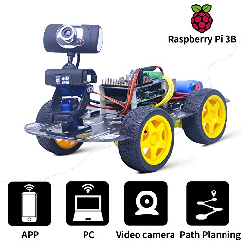 XiaoR GEEK DS Wireless Wifi Robot Car Kit for Raspberry pi, Remote Control Hd Camera 8G SD Card Robotics Smart Educational Toy controlled by iOS Android App PC software with Detailed instructions