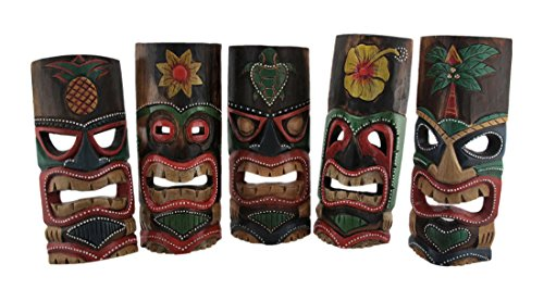 (Zeckos Set of 5 Polynesian Style Wooden Tiki Masks 10)