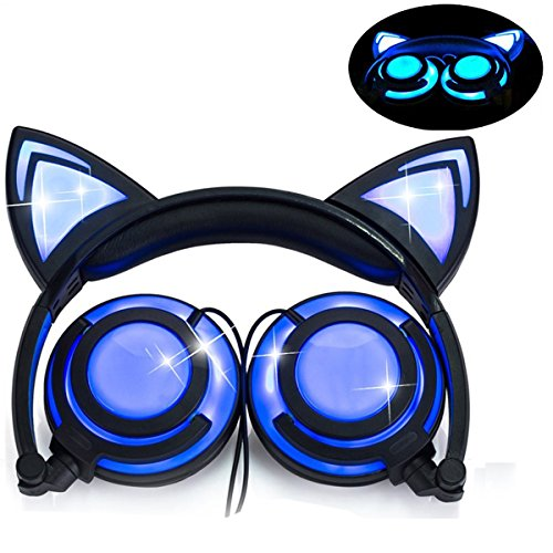 Headphone Cat Ear Headset,LED Light with USB Chargeable
