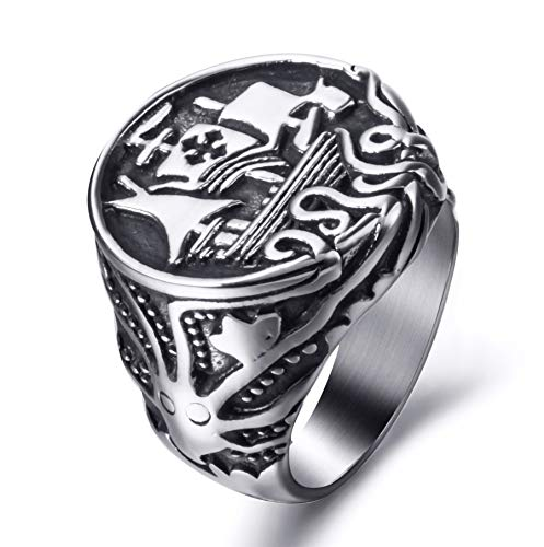 Viking Logo Ring - Elfasio Viking Drakkar Ship Kraken Norse Sea Monster Octopus Squid Tentacle Stainless Steel Ring Vintage Size 13