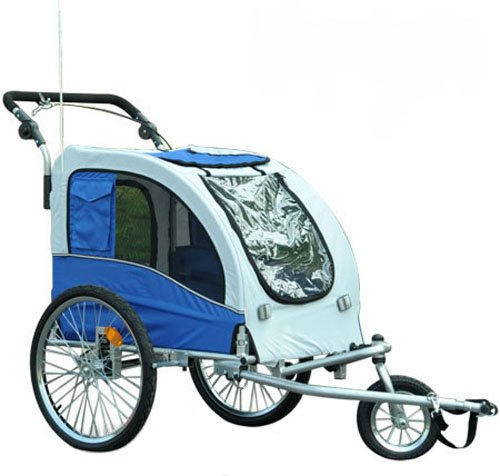 Aosom Elite II Pet Dog Bike Bicycle Trailer Stroller Jogger w/ Suspension Blue
