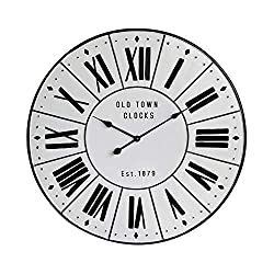 NIKKY HOME Vintage Retro Old Town Roman Numerals Large Round Metal Wall Clock - 32 inch